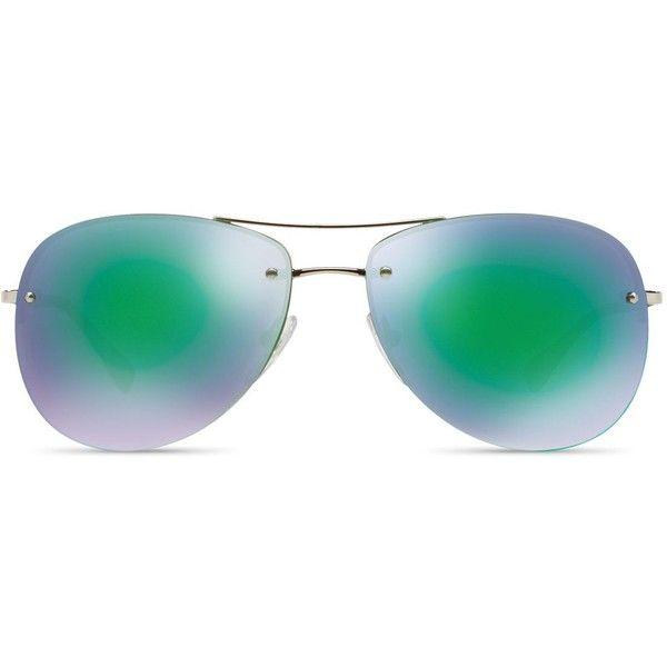 Prada Rimless Mirrored Aviator Sunglasses, 59mm ($270) ❤ liked on Polyvore featuring men's fashion, men's accessories, men's eyewear, men's sunglasses, green blue, mens aviator sunglasses, mens blue aviator sunglasses, men's mirrored sunglasses, mens rimless sunglasses and mens mirrored aviator sunglasses