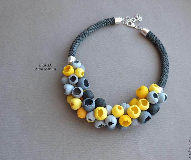 Купить Колье-бутоны в желто-серой гамме. - желтый, серый, бутоны, цветы, колье бутоны