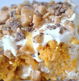 Pumpkin Better Than Sex Cake 1 box spiced or yellow cake mix*1 – 15 oz. can pumpkin puree (NOT pumpkin pie mix)1 – 14 oz. can sweetened condensed milk1 – 16 oz. tub cool whip, thawed1 - 8 oz. pkg cream cheese1 cup powdered sugar½ bag Heath Bits or 3 crushed Heath bars or toffee bits*Caramel Sundae Sauce/Topping
