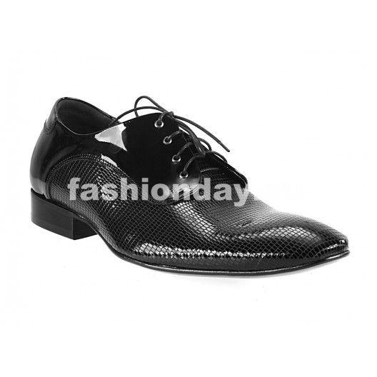 Pánske kožené extravagantné topánky čierne - fashionday.eu