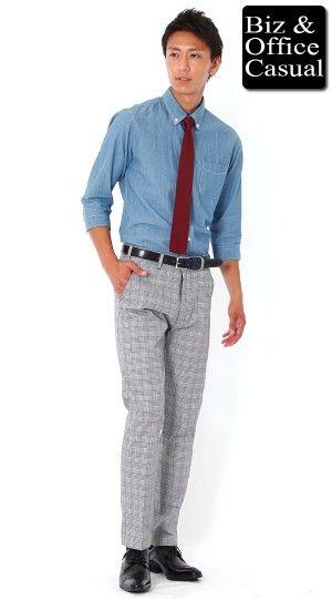シャンブレーシャツ×グレンチェックコットンパンツ×ニットタイ biz14ss_6243【ビジネスカジュアル・オフィスカジュアルコーディネート~会社に着ていく私服・通勤服~】 - メンズファッション通販