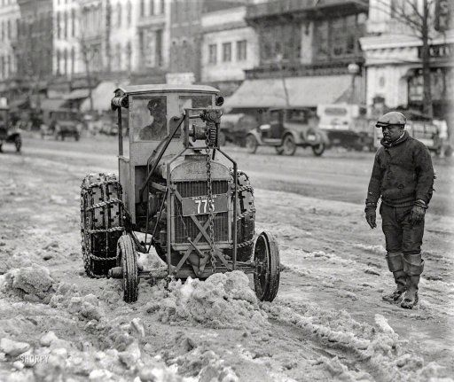 "Washington, D.C., 1925. ""Snow removal -- Ford tractor."" A teaspoon at a time. National Photo Company Collection glass negative. Prints from $15."