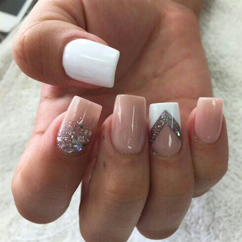 Nude and white nail art design