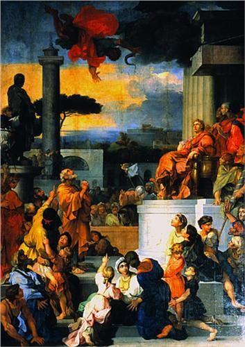 Sebastien Bourdon (French: 1616 - 1671) - The Fall of Simon Magus (1657)