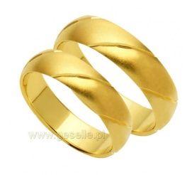 Subtelny komplet obraczek ślubnych z żółtego złota próby 585