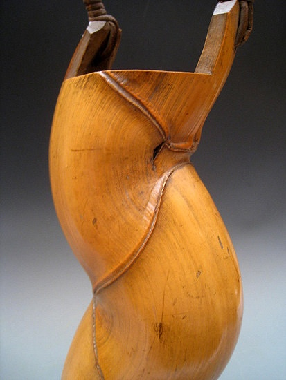 Whimsical handcarved Japanese bamboo hanaire (put-in flowers) or tea-ceremony ikebana vase, early-mid 20th century.