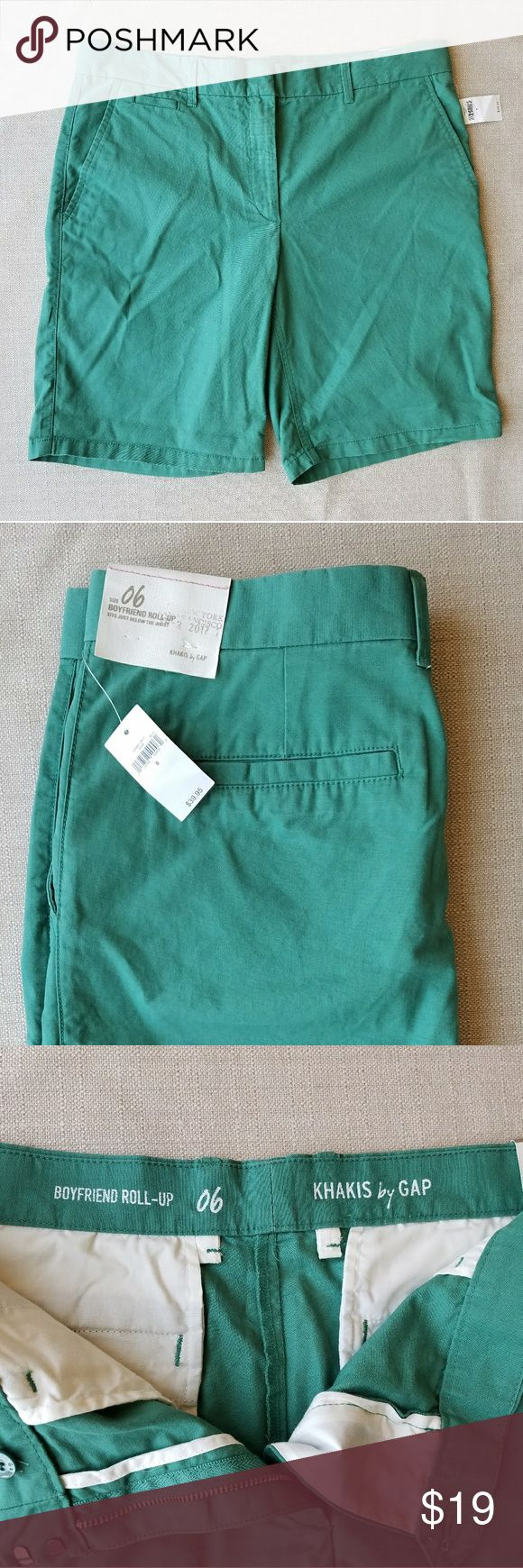 Gap Womens Green Khaki Boyfriend Shorts Size 6 NWT Green Gap womens khaki shorts size 6, NWT, Bermuda style with 9in inseem. GAP Shorts Bermudas