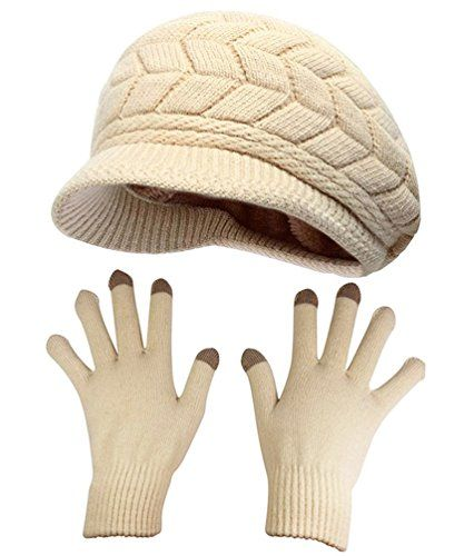 HINDAWI Winter Hat Gloves For Women Knit Snow Ski Outdoor Cap Touch Screen Mittens (Beige)