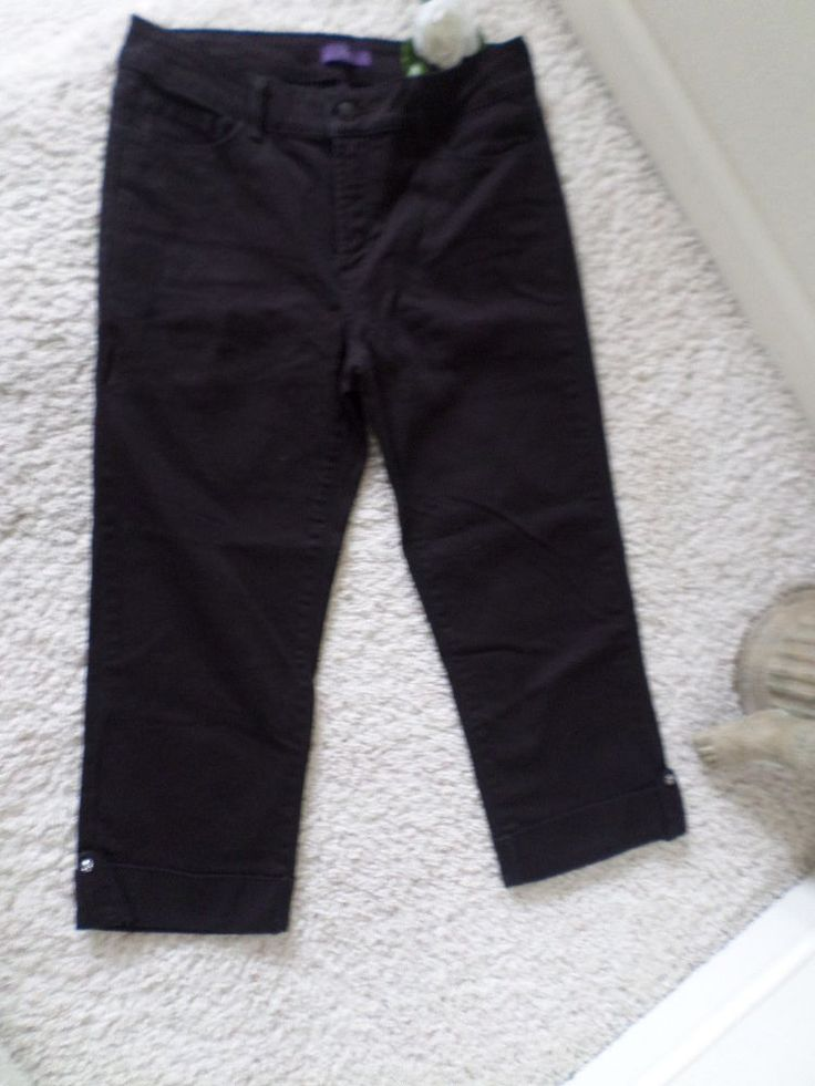 NOT YOUR DAUGHTER'S JEANS BLACK CAPRI 6~NYDJ LIFT TUCK RELAXED FIT CROP 6~95%NEW #NotYourDaughtersJeans #CapriCropped