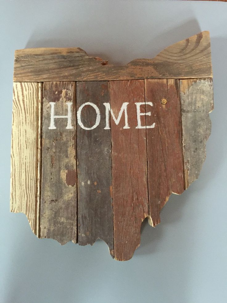 Customizable Wooden State Sign - Hand Painted on Reclaimed Wood - Country Chic Decor - Ohio by MoonshineAndMimosas on Etsy https://www.etsy.com/listing/215497656/customizable-wooden-state-sign-hand