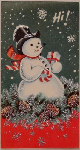 #1530 50s Unused Mid Century Glittered Snowman- Vintage Christmas Greeting Card