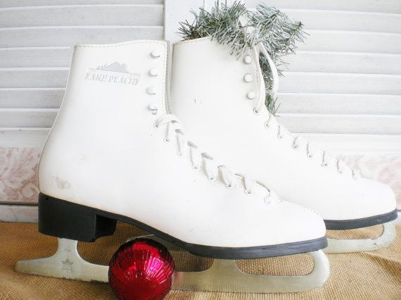 Vintage Ice Skates White Leather Boot Figure Skates by MyVingtique