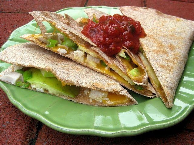 Apple Chicken Quesadilla -4 flour tortillas -1 cup cooked chicken ...