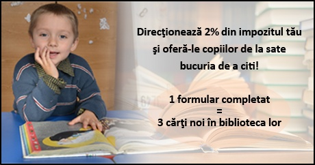 1 formular 2% completat = 3 carti noi in biblioteca copiilor de la sate    www.worldvision.ro