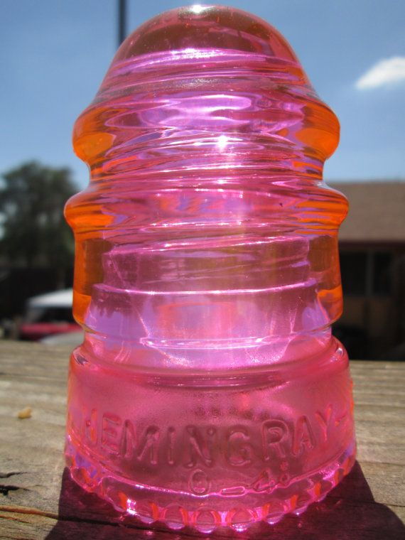 Beautiful Hemingray 12 Hot Pink Glass Insulator Colored or Stained