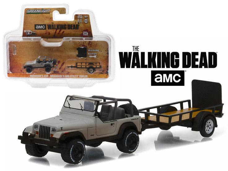 """Michonne's Jeep Wrangler YJ and Utility Trailer """"The Walking Dead"""" (2010-Current TV Series ) Hitch & Tow Series 8 1/64 Diecast Model Car by Greenlight - Brand new 1:64 scale car model of Michonne's Jeep Wrangler YJ and Utility Trailer """"The Walking Dead"""" (2010-Current TV Series ) Hitch & Tow Series 8 die cast car model by Greenlight. Limited Edition. Detailed Interior, Exterior. Metal Body. Comes in a blister pack. Officially Licensed Product. Dimensions Approximately L-7 Inches Long.-Weight…"""