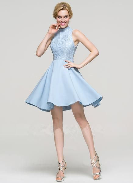8c020cf9c4f Light Sky Blue Applique Halter Short Homecoming Dresses in 2019 ...