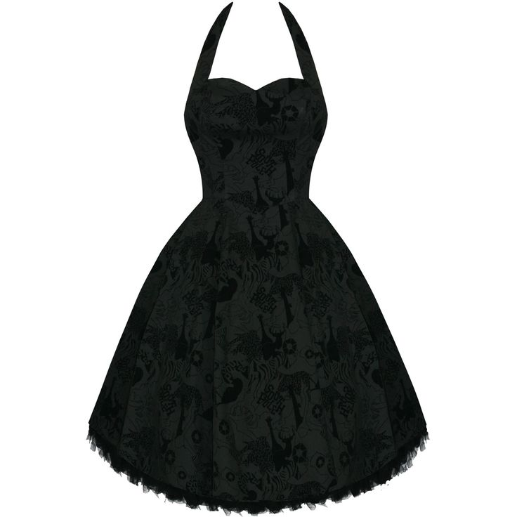 Womens Ladies New Flocked Black Animal Print 50S Vtg Swing Party Evening Dress Preview