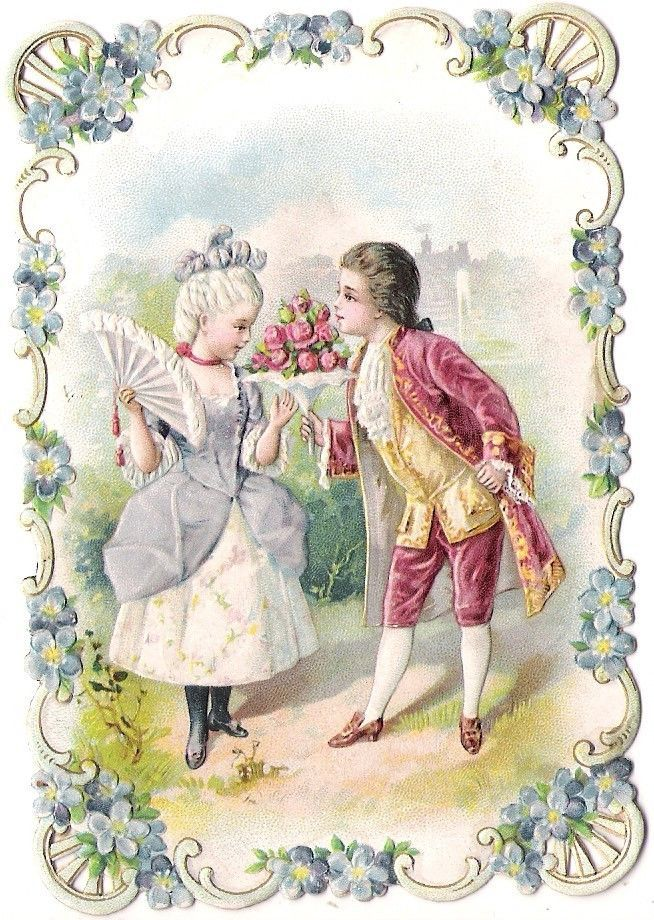 Oblaten Glanzbild scrap diecut chromo Karte card couple Paar Kind child girl boy: