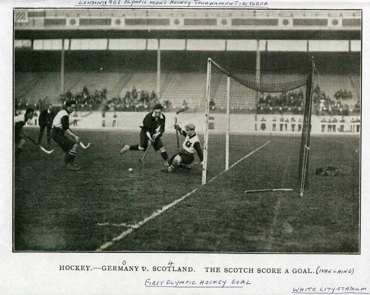 Chanced upon this image, first goal being scored in the Olympics, 1908. courtesy: Field Hockey Clubs.