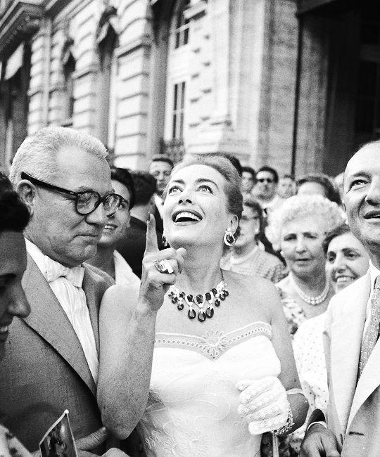Joan Crawford and husband Alfred Steele in Italy, 1957