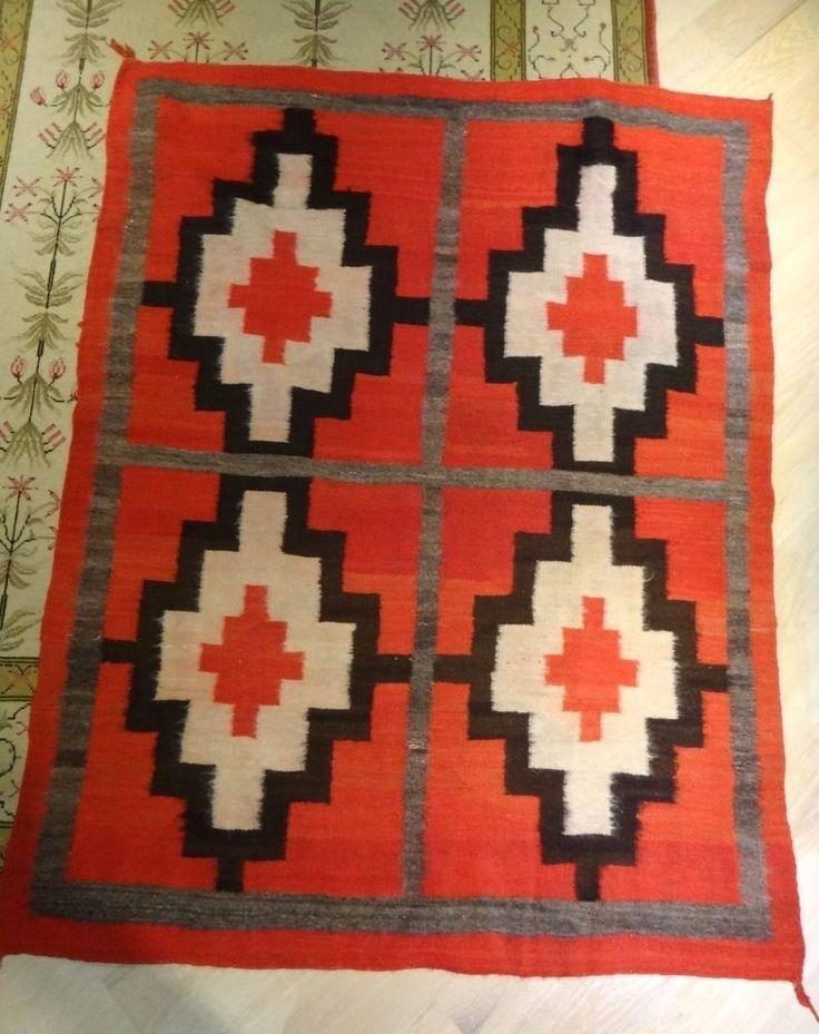 "Vintage Navajo Ganado Rug, Large size 48"" by 66"" 1940's Nice Bold Pattern"