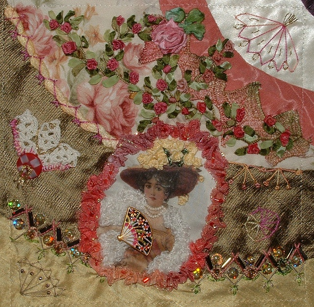 I ❤ crazy quilting & ribbon embroidery . . . Fans Block for Leslie by Cathy ~By Crazybydesign