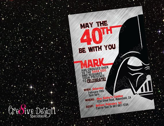 Darth Vader Star Wars Birthday Photo Invitations Print your own Digital Invite