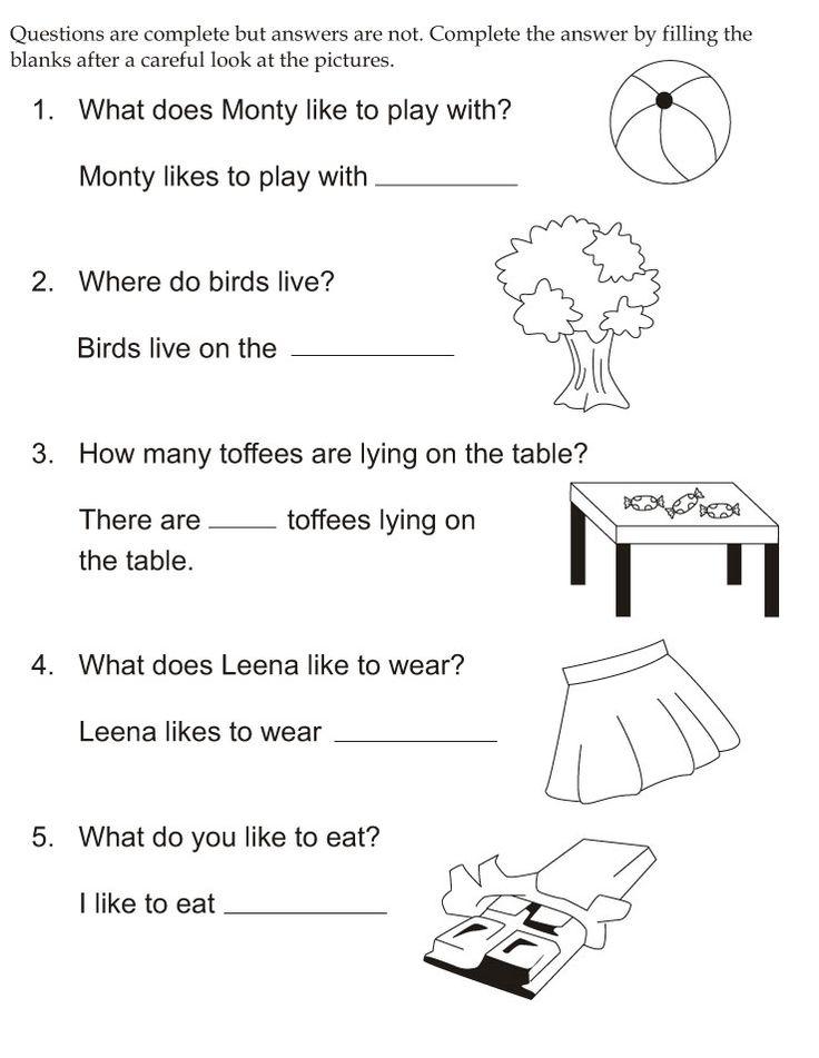 Free Esl Worksheets For Kindergarten