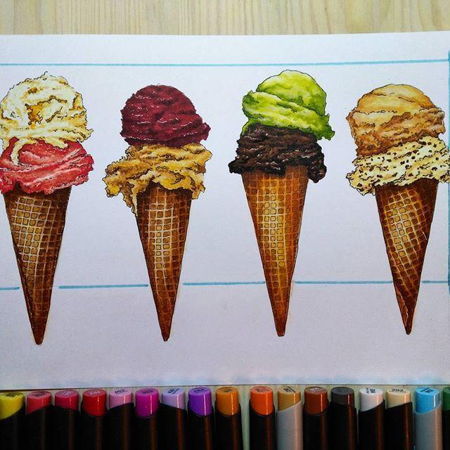 ✅ Морооооженка😋🍦 #скетчмарафон_сладкий_ноябрь с @janelip.art, @sketchpark, @art_markers, @tsusketch, @touchmarkers.ru и @letitprint  #скетчбук #скетчинг #stylefile #markers #мороженое  #art_markers  #sketch #sketchbook #art