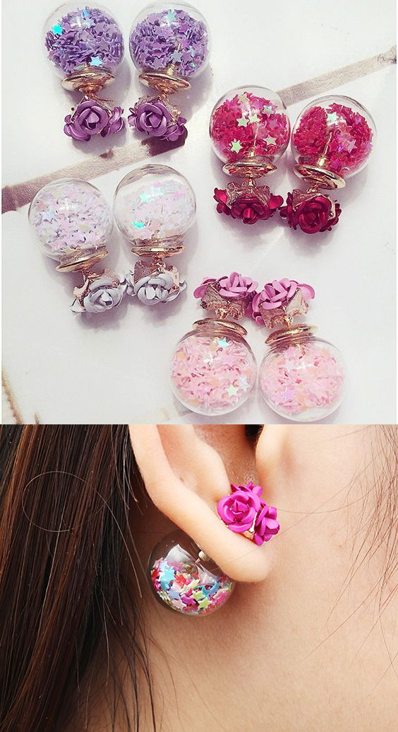 US$4.79 + Free shipping. Colorful Glass Ball Stars Ear Stud Flower Earrings. Main Color: Blue, White, Purple, Red, Pink, Colorful.