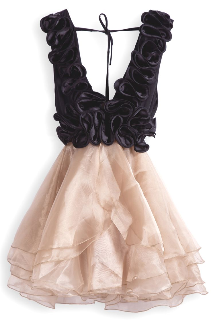 Champagne v-neck cascading ruffle organza dress. I could NOT pull this off, but I like it. Such a fun party dress!