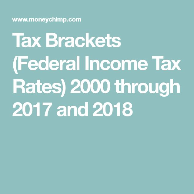 Tax Brackets (Federal Income Tax Rates) 2000 through 2017 and 2018