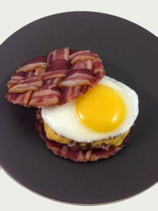 The Bacon Weave Breakfast Burger.  Check out DudeFood Bacon goodness Oh yeah
