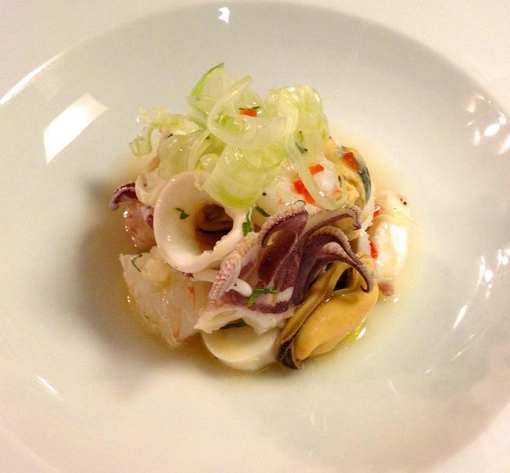 Insalata di mare: seafood salad with crab, calamari, octopus, mussels ...
