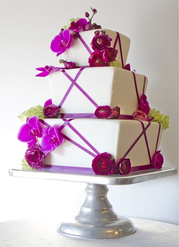 Wedding Cake Inspiration: White With Pink Orchids