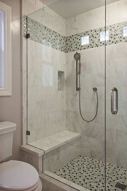 White Shower Stall W/grey Tile Band. Contemporary Bathroom   Found On  Zillow Digs
