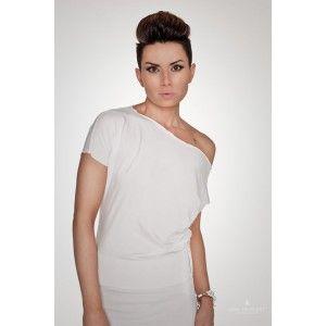 Agi Jensen - biała sukienka z gumką