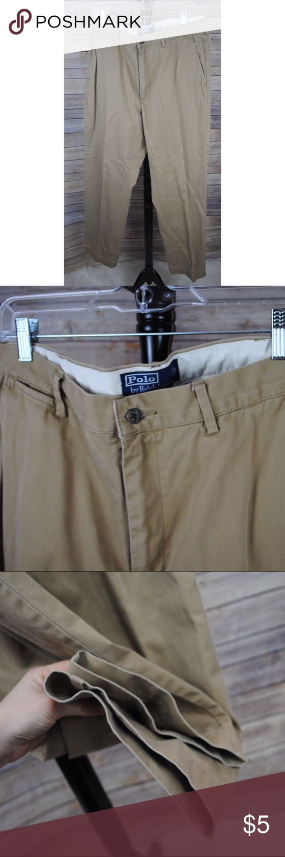 Men's 36/34 Khaki Slacks Khaki slacks. Please see small pin hole in the waistband. Polo by Ralph Lauren Pants Chinos & Khakis