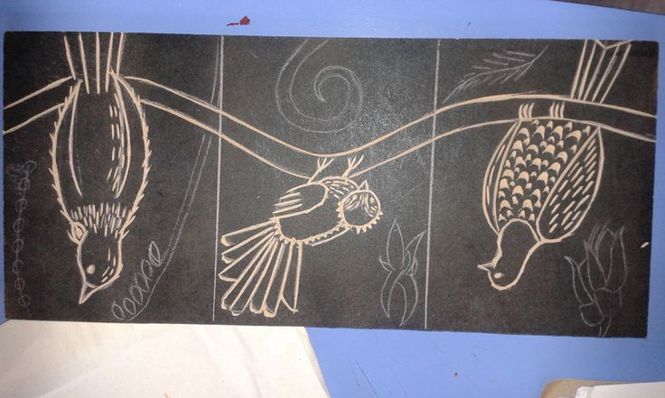 A woodcut of three native birds.  Was originally supposed to be three separate pictures.