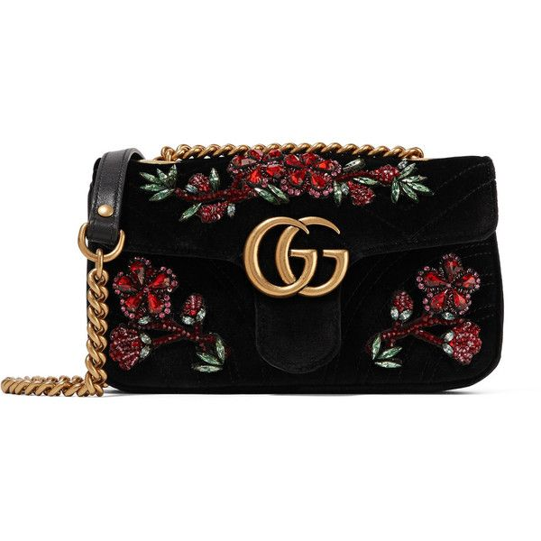 Gucci GG Marmont small crystal-embellished velvet shoulder bag (€2.130) ❤ liked on Polyvore featuring bags, handbags, shoulder bags, black, quilted purses, quilted chain strap shoulder bag, quilted handbags, flower purse and pocket purse