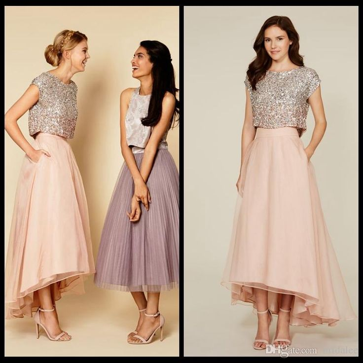 Purple Prom Dresses Uk 2016 Two Pieces Elie Saab Prom Dresses A Line Hi Lo Train Pearl Pink Chiffon Skirt And Sequin Cap Sleeve Evening Party Dresses Formal Gowns Camo Prom Dresses From Bridalee, $109.43| Dhgate.Com
