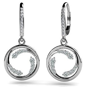 Anjolee  14k White & Yellow Gold, Diamond Wave Hoop Earrings, 0.48 ct. (Color: HI, Clarity: SI2)  Price: $736.55