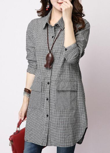 Plaid Print Turndown Collar Long Shirt on sale only US$24.49 now, buy cheap Plaid Print Turndown Collar Long Shirt at lulugal.com