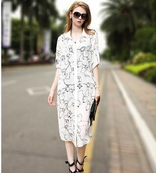 Free Shipping - Sunscreen Casual Flower Printed Cool Chiffon Shirt Style Long Cardigan Dresses