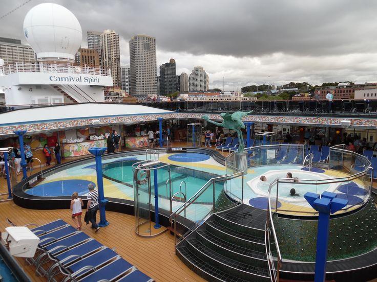 Carnival Spirit cruise ship. Main pool deck.