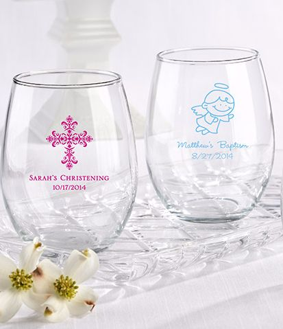 Personalized stemless trinket glass communion and baptism favors.  Fill with candy for a fun table decoration.