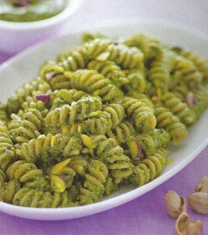 Questa ricetta altro non è che una salsa per condire la pasta con lattuga e pistacchi. E' un sugo vegetariano originale e veloce, se dotati di frullatore.
