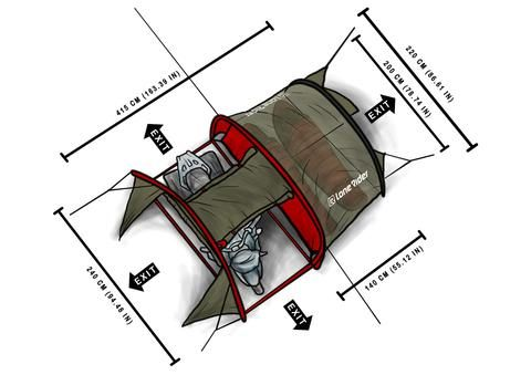 Motorcycle tent MotoTent Dimensions from above