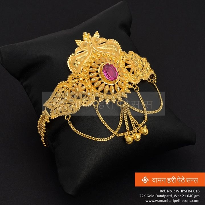 Graceful Gold Dandpatti....ideal for traditional wear.